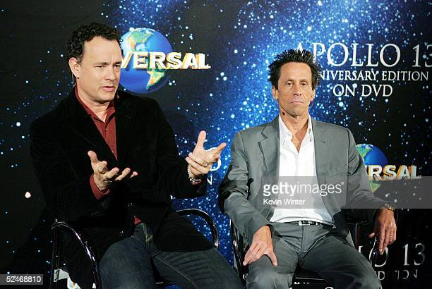 Actor Tom Hanks and producer Brian Grazer attend a Q A at Universal Home Studio's 35 Anniversary salute and DVD release of 'Apollo 13' at the...