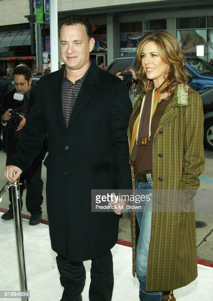 Actor Tom Hanks and Producer Rita Wilson attend the film premiere of The Polar Express at Grauman's Chinese Theater on November 7 2004 in Hollywood...