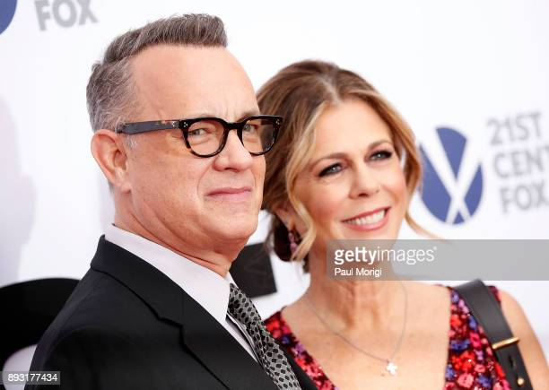 Actor Tom Hanks and Rita Wilson arrive at The Post Washington DC Premiere at The Newseum on December 14 2017 in Washington DC
