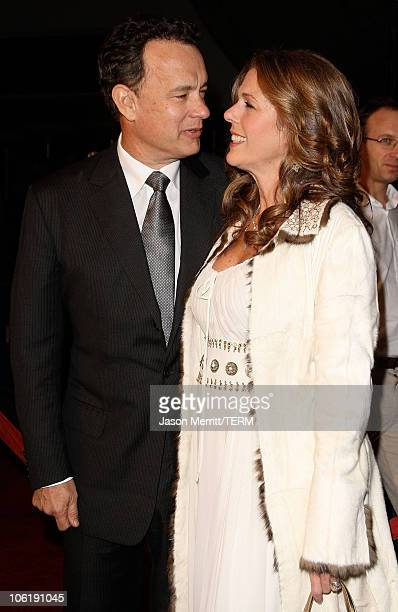 """Actor Tom Hanks and Rita Wilson arrive to the premiere of Universal Pictures' """"Charlie Wilson's War"""" at City Walk Cinemas on December 10, 2007 in..."""