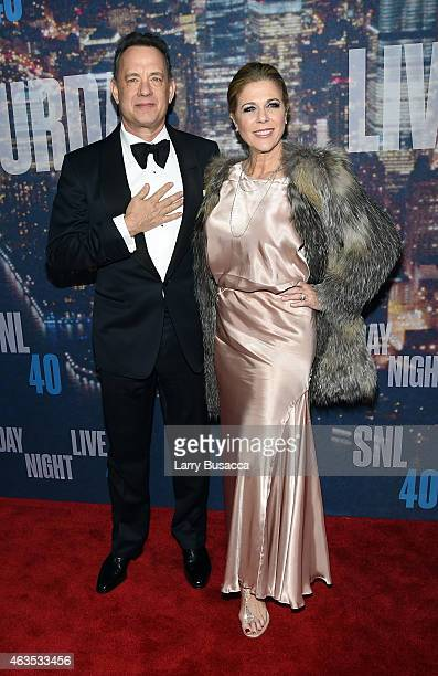 Actor Tom Hanks and Rita Wilson attend SNL 40th Anniversary Celebration at Rockefeller Plaza on February 15 2015 in New York City