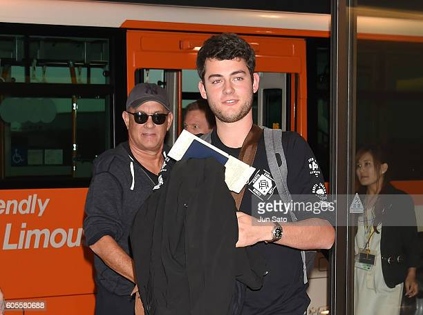 Actor Tom Hanks and son Truman Hanks are seen upon arrival at Haneda Airport on September 14 2016 in Tokyo Japan
