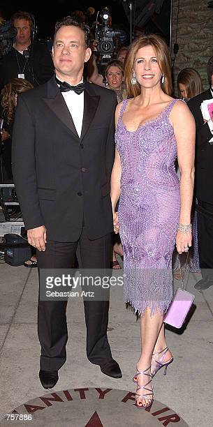 Actor Tom Hanks and wife actress Rita Wilson attend the Vanity Fair Oscar Party at Mortons March 24, 2002 in West Hollywood, CA.