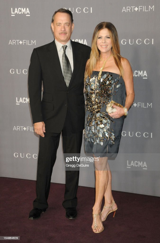 Actor Tom Hanks and wife Rita Wilson arrive at LACMA Art + Gala at LACMA on October 27, 2012 in Los Angeles, California.