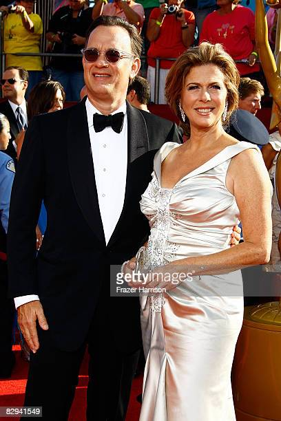 Actor Tom Hanks and wife Rita Wilson arrive at the 60th Primetime Emmy Awards held at Nokia Theatre on September 21, 2008 in Los Angeles, California.