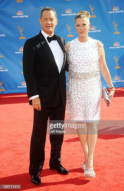 Actor Tom Hanks and wife Rita Wilson arrive at the 62nd Annual Primetime Emmy Awards held at the Nokia Theatre LA Live on August 29 2010 in Los...
