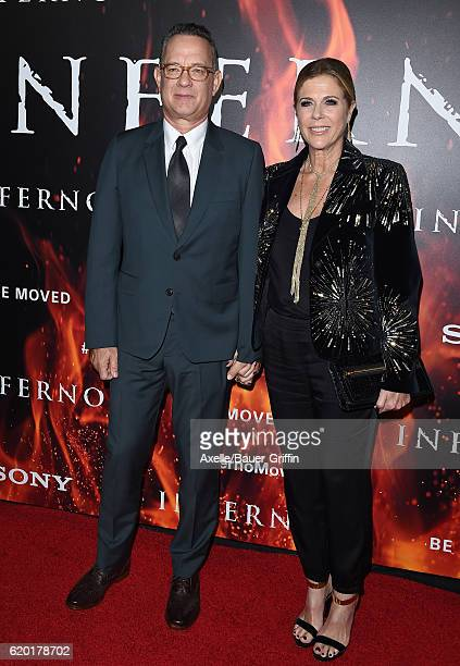 Actor Tom Hanks and wife Rita Wilson arrive at the screening of Sony Pictures Releasing's 'Inferno' at DGA Theater on October 25 2016 in Los Angeles...