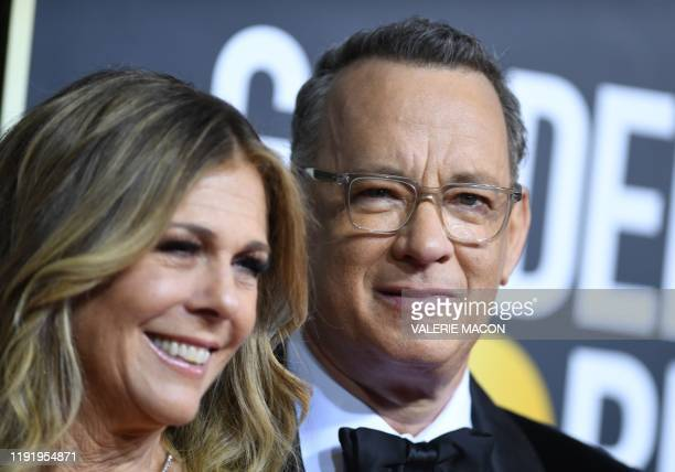 US actor Tom Hanks and wife Rita Wilson arrive for the 77th annual Golden Globe Awards on January 5 at The Beverly Hilton hotel in Beverly Hills...