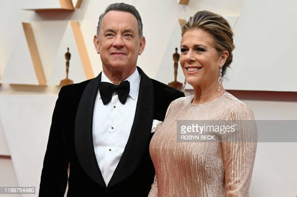 US actor Tom Hanks and wife Rita Wilson arrive for the 92nd Oscars at the Dolby Theatre in Hollywood California on February 9 2020