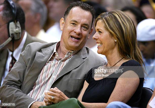 Actor Tom Hanks and wife Rita Wilson attend Game 6 of the NBA Western Conference Semifinals between the San Antonio Spurs and the Los Angeles Lakers...