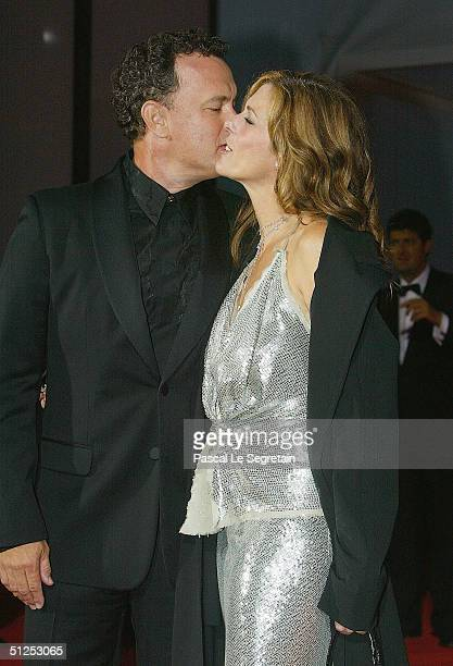 US actor Tom Hanks and wife Rita Wilson attend The Terminal Opening Night Premiere at the 61st Venice Film Festival on September 1 2004 in Venice...