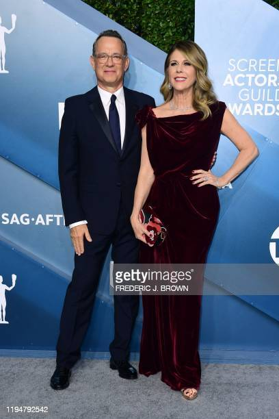 US actor Tom Hanks and wife US actress Rita Wilson arrive for the 26th Annual Screen Actors Guild Awards at the Shrine Auditorium in Los Angeles on...