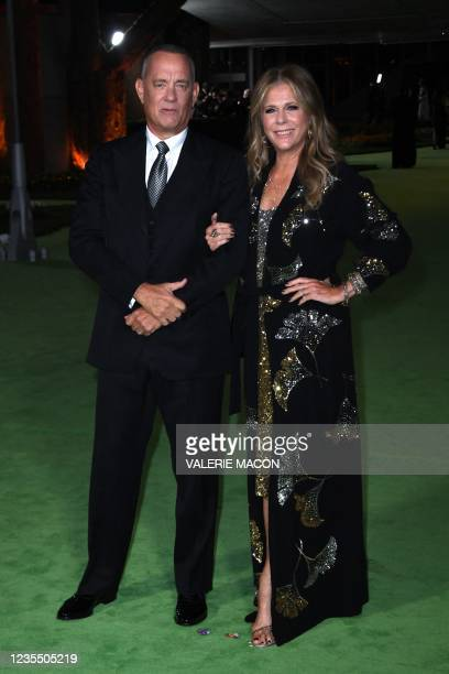 Actor Tom Hanks and wife US actress Rita Wilson arrive for the Academy Museum of Motion Pictures opening gala on September 25, 2021 in Los Angeles,...