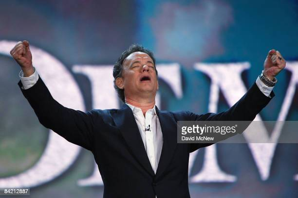 Actor Tom Hanks appears onstage during the keynote address of Sony Corp Chairman and CEO Sir Howard Stringer at the Venetian during the 2009...