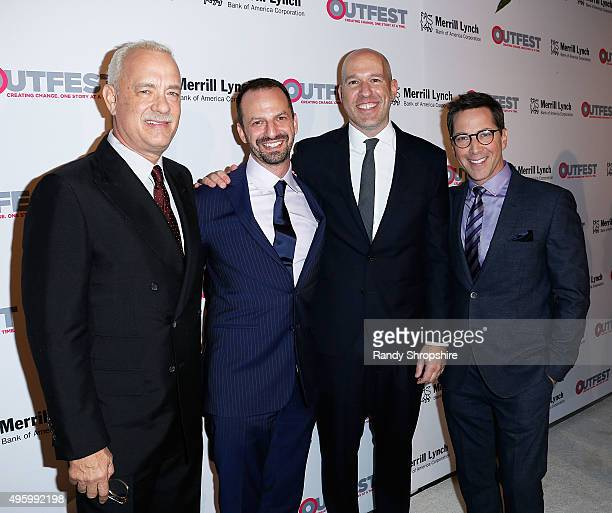Actor Tom Hanks Ari Karpel Peter Gal and Dan Bucatinsky arrive to the 2015 Outfest Legacy Awards at Vibiana on November 5 2015 in Los Angeles...