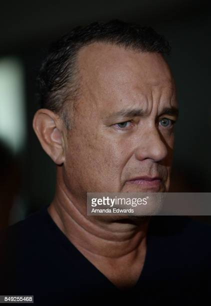 Actor Tom Hanks arrives at the 27th Annual Simply Shakespeare benefit at the Freud Playhouse UCLA on September 18 2017 in Westwood California