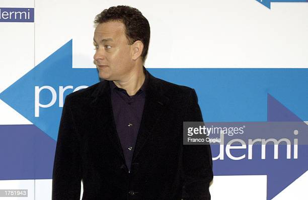 Actor Tom Hanks attends a promotional viewing of his new film Catch Me If You Can at the Cinema Adriano January 29 2003 in Rome Italy