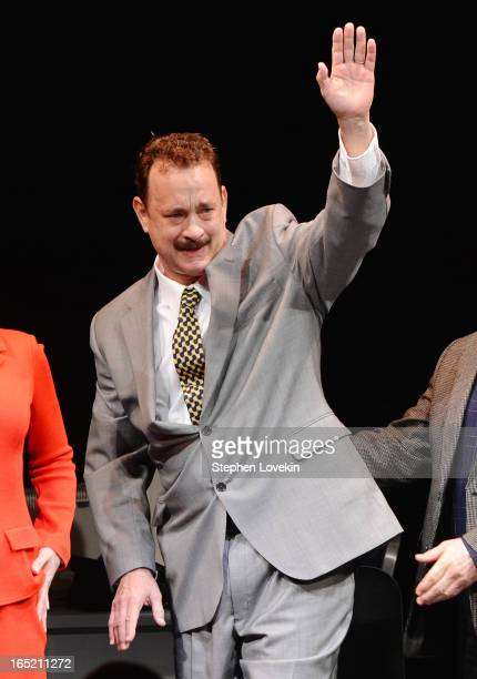 Actor Tom Hanks attends the curtain call for the Lucky Guy Broadway opening night at The Broadhurst Theatre on April 1 2013 in New York City