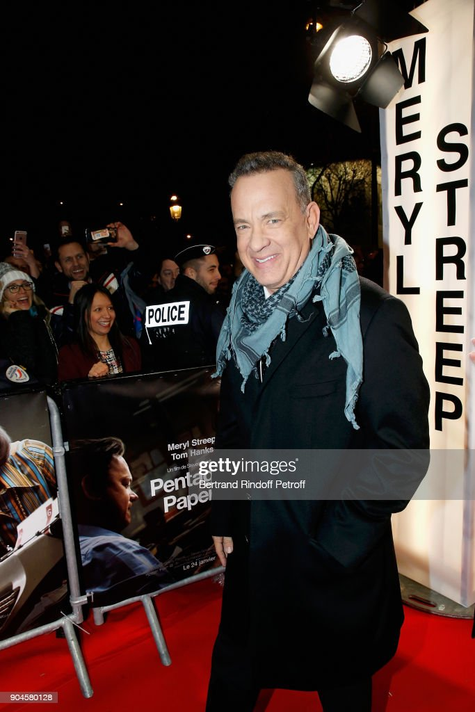 Actor Tom Hanks attends the 'Pentagon Papers' Paris Premiere at Cinema UGC Normandie on January 13, 2018 in Paris, France.