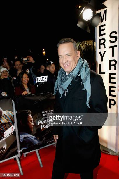 Actor Tom Hanks attends the 'Pentagon Papers' Paris Premiere at Cinema UGC Normandie on January 13 2018 in Paris France