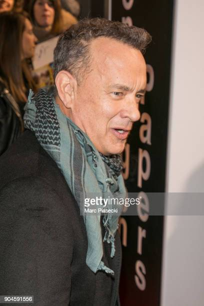 Actor Tom Hanks attends the 'Pentagon Papers The Post' Premiere at Cinema UGC Normandie on January 13 2018 in Paris France