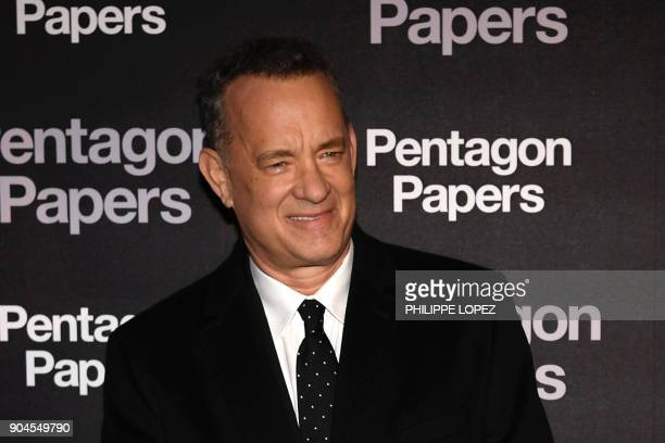 US actor Tom Hanks attends the premier of The Pentagon Papers on January 13 2018 in Paris The Post which came out in theaters in the United States on...