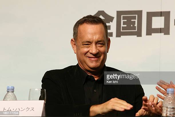 Actor Tom Hanks attends the press conference for 'Captain Phillips'at Tokyo Midtown on October 18 2013 in Tokyo Japan