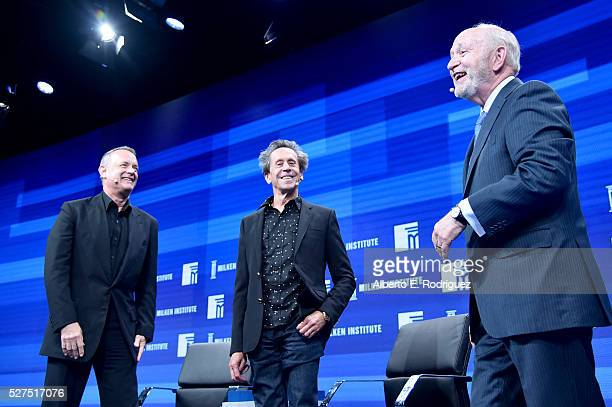 Actor Tom Hanks director/producer Brian Grazer and Michael Klowden President and CEO of the Milken Institute speak onstage during 2016 Milken...