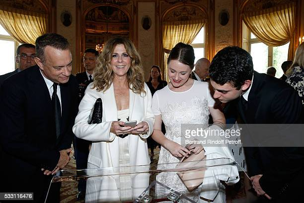 Actor Tom Hanks his wife actress Rita Wilson their son Truman Theodore Hanks and Tom's daughter Elizabeth Ann Hanks attend Tom Hanks Tom Brokaw...