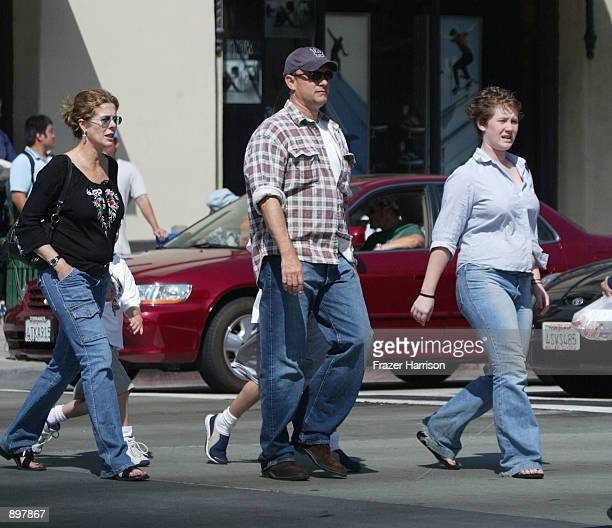 Actor Tom Hanks his wife Rita Wilson and daughter Elizabeth Hanks walk down Broadway June 22 2002 in Santa Monica California