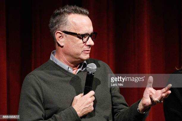 Actor Tom Hanks on stage during The Academy of Motion Picture Arts Sciences Official Academy Screening of The Post at the MOMA Celeste Bartos Theater...