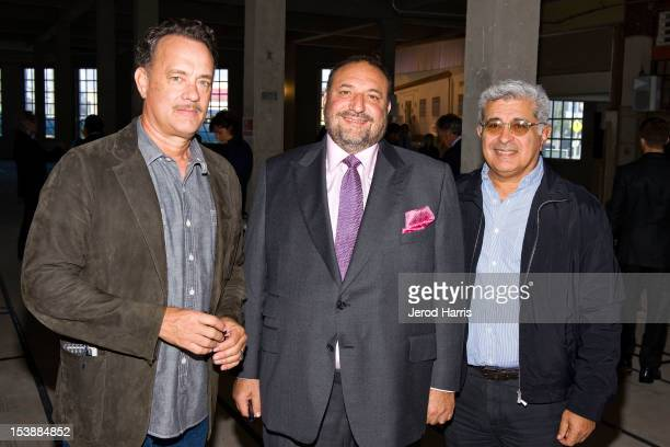 Actor Tom Hanks Producer Joel Silver and Terry Semel attend the Silver Pictures Venice Headquarters Press Conference on October 10 2012 in Venice...