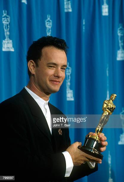 Actor Tom Hanks receives his Oscar at the Academy Awards in Los Angeles CA March 29 1995