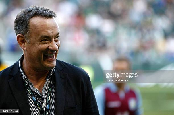 Actor Tom Hanks smiles before the game between Aston Villa and the Portland Timbers at JeldWen Field on July 24 2012 in Portland Oregon