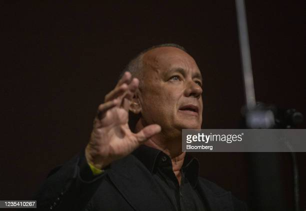 Actor Tom Hanks speaks during a media preview of the Academy Museum of Motion Pictures in Los Angeles, California, U.S., on Tuesday, Sept. 21, 2021....