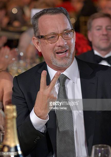 Actor Tom Hanks speaks in the audience during Muhammad Ali's Celebrity Fight Night XVIII held at JW Marriott Desert Ridge Resort & Spa on March 24,...