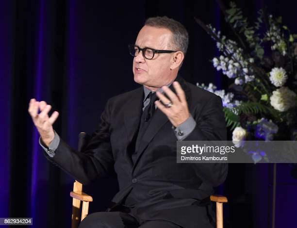 Actor Tom Hanks speaks on stage during 'Change Begins Within Healing The Hidden Wounds Of War' Benefit Dinner Conversation hosted by David Lynch...