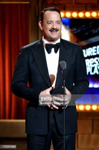 Actor Tom Hanks speaks onstage at The 67th Annual Tony Awards at Radio City Music Hall on June 9 2013 in New York City