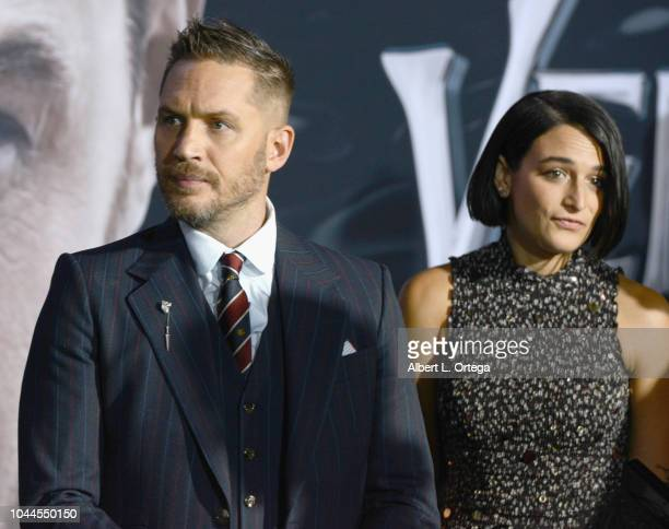 """Actor Tom Hardy and actress Jenny Slate arrive for Premiere Of Columbia Pictures' """"Venom"""" held at Regency Village Theatre on October 1, 2018 in..."""