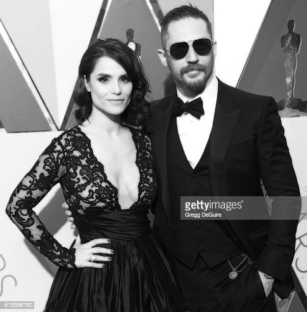 Actor Tom Hardy and Charlotte Riley arrive at the 88th Annual Academy Awards at Hollywood & Highland Center on February 28, 2016 in Hollywood,...