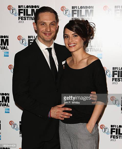 Actor Tom Hardy and Charlotte Riley attend a screening of 'Locke' during the 57th BFI London Film Festival at Odeon West End on October 18 2013 in...