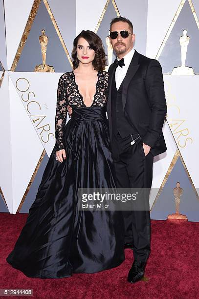 Actor Tom Hardy and Charlotte Riley attend the 88th Annual Academy Awards at Hollywood Highland Center on February 28 2016 in Hollywood California