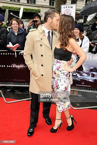 Actor Tom Hardy and Charlotte Riley attend the European Premiere of 'The Dark Knight Rises' at Odeon Leicester Square on July 18 2012 in London...