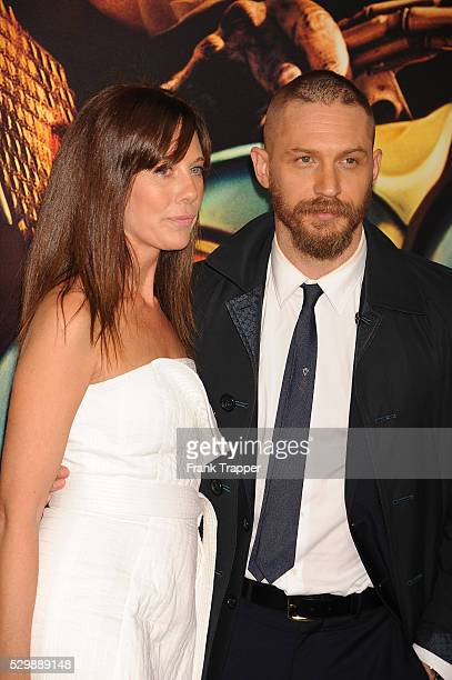 """Actor Tom Hardy and guest arrive at the premiere of """"Mad Max: Fury Road"""" held at the TCL Chinese Theater in Hollywood."""