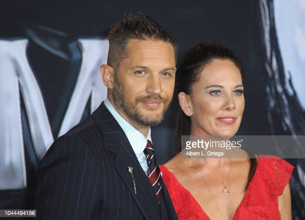 """Actor Tom Hardy and writer Kelly Marcel arrive for Premiere Of Columbia Pictures' """"Venom"""" held at Regency Village Theatre on October 1, 2018 in..."""