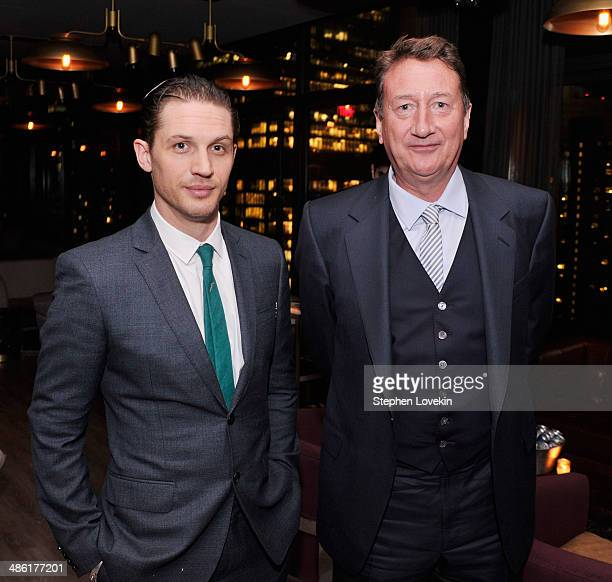 """Actor Tom Hardy and writer/director Steven Knight attend the after party for the A24 and The Cinema Society of """"Locke"""" at The Skylark on April 22,..."""