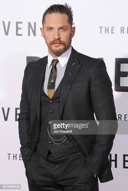 Actor Tom Hardy arrives at the Los Angeles Premiere 'The Revenant' at TCL Chinese Theatre on December 16 2015 in Hollywood California