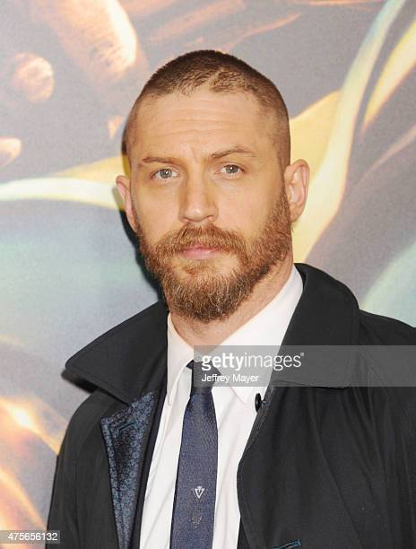Actor Tom Hardy arrives at the Mad Max Fury Road Los Angeles Premiere at TCL Chinese Theatre IMAX on May 7 2015 in Hollywood California