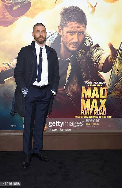 "Actor Tom Hardy arrives at the Premiere Of Warner Bros. Pictures' ""Mad Max: Fury Road"" at TCL Chinese Theatre on May 7, 2015 in Hollywood, California."