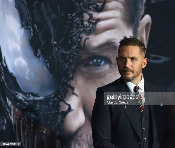 """Actor Tom Hardy arrives for Premiere Of Columbia Pictures' """"Venom"""" held at Regency Village Theatre on October 1, 2018 in Westwood, California."""